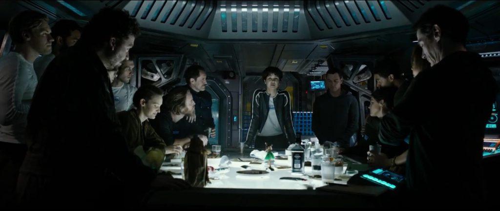Gänget på rymdskeppet Covenant.